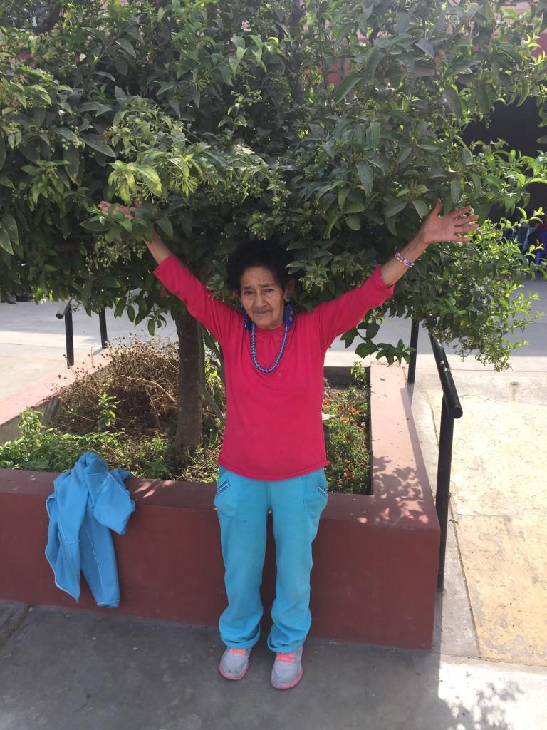La signora in questa foto ama farsi fotografare sotto quest'albero poiché, secondo la cultura Quechua, Dio si manifesta tramite la forza e la bellezza della natura.